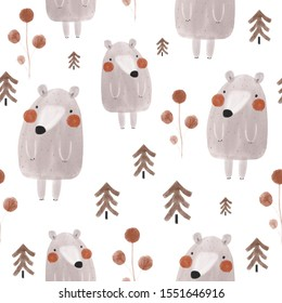 Seamless watercolor childish pattern with bears in the autumn wood. Creative kids forest texture for fabric, wrapping, textile, wallpaper, apparel. Vector illustration