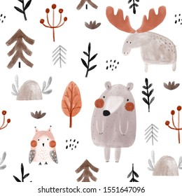 Seamless watercolor childish pattern with bears, moose, owl in the autumn wood. Creative kids forest texture for fabric, wrapping, textile, wallpaper, apparel. Vector illustration
