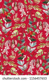 Seamless watercolor Christmas pattern with berries and spruce on a red background