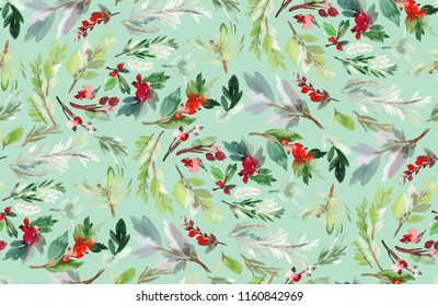 Seamless watercolor Christmas pattern with berries and spruce on a green background