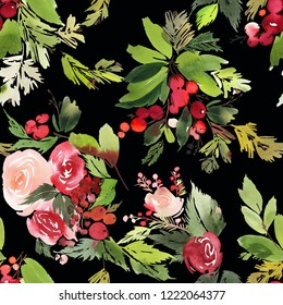 Seamless watercolor Christmas pattern with berries and spruce on black background