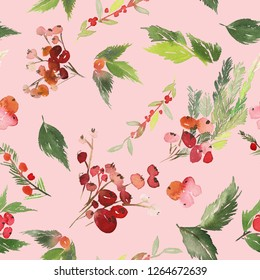 Seamless watercolor Christmas pattern with berries and spruce on light pink background