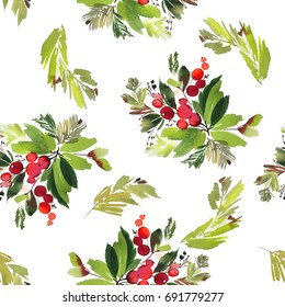 Seamless watercolor Christmas pattern with berries and spruce. White background