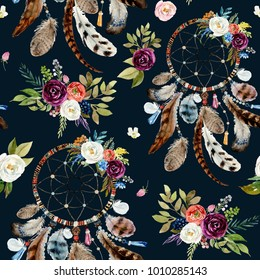 Seamless watercolor ethnic boho floral pattern - dreamcatchers and flowers on black background, Native American tribe decor, tribal navajo isolated illustration bohemian ornament, Indian, Peru, Aztec.