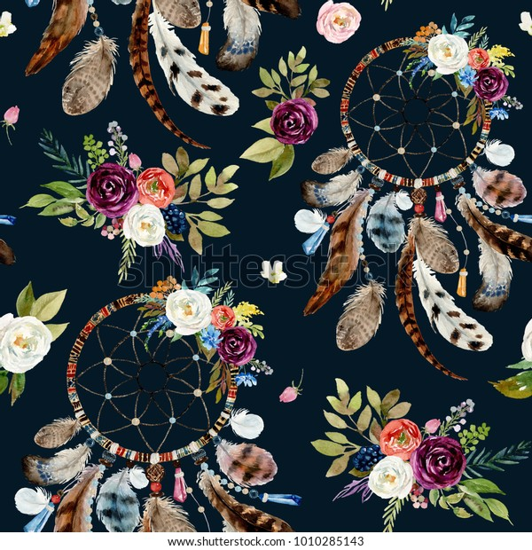 Seamless Watercolor Ethnic Boho Floral Pattern Stock