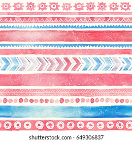 Seamless Watercolor Ethnic Tribal Ornamental Pattern. Hand-painted red and blue texture for Fabric, Scrapbooking, Wrapping Paper, Greeting and invitation card Design Template.
