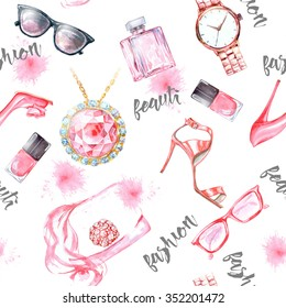 Seamless  watercolor  fashion and  cosmetics background  with   make up artist objects: ladies watch, , nail Polish, jewelry, shoes, sunglasses,  perfume.
