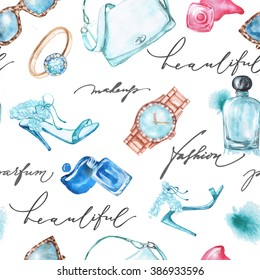 Seamless  Watercolor  fashion and  cosmetics  background  with   make up artist objects: ladies watch, handbag, nail Polish, jewelry, shoes,  perfume.