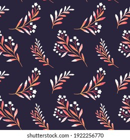 Seamless watercolor floral background. Botanical digital painted pattern. Trendy leaves illustration for fabric, wallpaper.