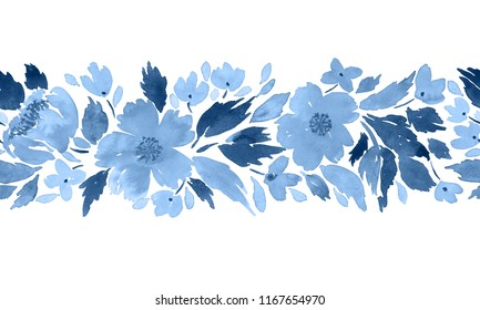Seamless watercolor floral border pattern in blue