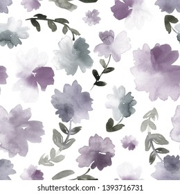 Seamless watercolor floral pattern in dusty purple and grey.