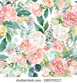 Seamless watercolor floral pattern with flowers and leaves composition on white background, perfect for wrappers, wallpapers, postcards, greeting cards, wedding invitations, romantic events, etc.