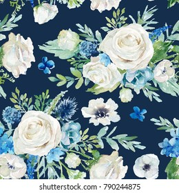 Seamless watercolor floral pattern with flowers and leaves composition on black background, perfect for wrappers, wallpapers, postcards, greeting cards, wedding invitations, romantic events, etc.