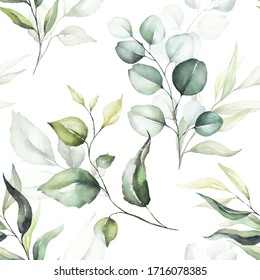 Seamless watercolor floral pattern - green leaves & branches on white background; for wrappers, wallpapers, postcards, greeting cards, wedding invitations, romantic events.