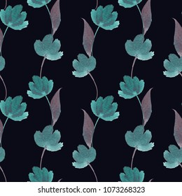 seamless watercolor floral pattern, floral pattern, hand-painted, hand-drawn, floristic pattern, high resolution,