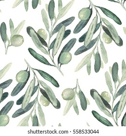 Seamless watercolor floral pattern with olives and leaves