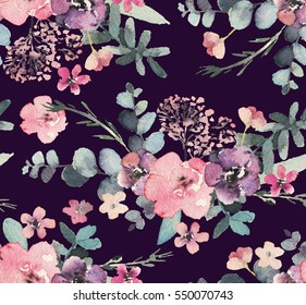 Seamless watercolor floral pattern on dark background