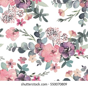 Seamless watercolor floral pattern on white background