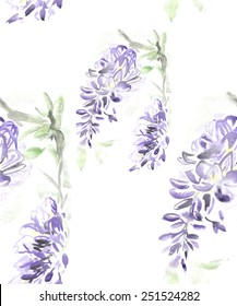 A seamless watercolor floral pattern with Wisteria flowers