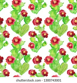 Seamless watercolor floral summer tropical pattern background with blooming cactus, succulents, pineapple. Perfect for wallpapers, web pages, surface textures,textile.Isolated on white background