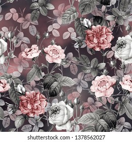 seamless watercolor flower pattern with background