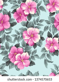 seamless watercolor flower pattern and skyblue background