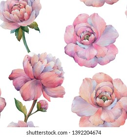 Seamless watercolor flowers pattern. Watercolor peony flowers. Flowers for design. Isolated flowers on white background. Seamless floral pattern. Purple peony floral botanical flower.
