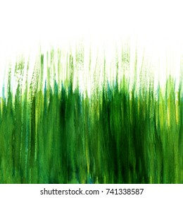 Seamless watercolor green grass texture, hand painted on white, with a place for text