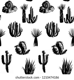 Seamless watercolor hand drawn cactus and succulent black and white pattern. Exotic grayskale texture. Perfect for fabric pattern.