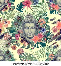 Seamless watercolor hand drawn pattern with Buddha head leaves, flowers, feathers. Vintage style.