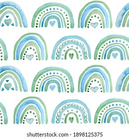 Seamless watercolor hand drawn pattern with boho rainbows green blue turquoise hearts for St Valentine Day fabric wrapping paper. Elegant design background for love celebration wedding. Modern texture