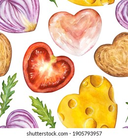 Seamless watercolor hand drawn pattern of sliced heart shaped sandwich ingredients : cheese, tomato, onion, toast, ham, rukkola, isolated on white. Perfect for textile, fabrics, menu, kitchen love