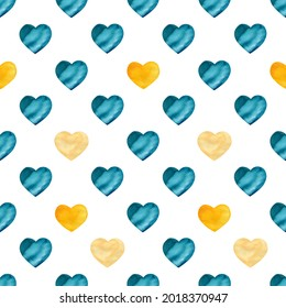 Seamless watercolor hearts pattern. Turquoise and yellow simple hand painted pattern for textile, wrapping paper, cloth, fabric, greeting card. Valentine's day background