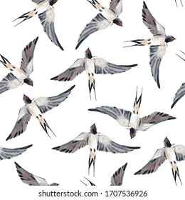 Seamless watercolor illustration of a bird swallow