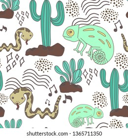 seamless watercolor illustration chameleon snake cactus desert concept for kids used for background texture, wrapping paper, textile greeting card template or wallpaper design