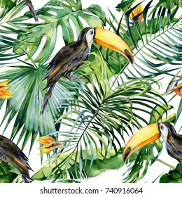 Seamless watercolor illustration of toucan bird. Ramphastos. Tropical leaves, dense jungle. Strelitzia reginae flower. Hand painted. Pattern with tropic summertime motif. Coconut palm leaves.