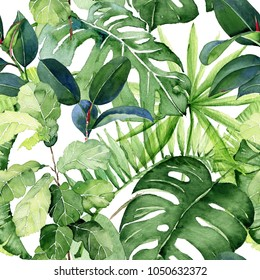 Seamless watercolor illustration of tropical leaves. Hand painted. Watercolor pattern.