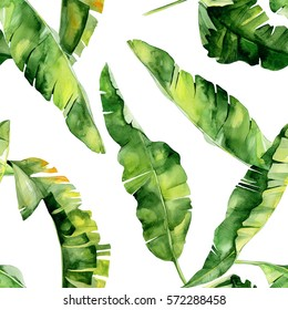 Seamless watercolor illustration of tropical leaves, dense jungle. Pattern with tropic summertime motif may be used as background texture, wrapping paper, textile,wallpaper design. Banana palm leaves