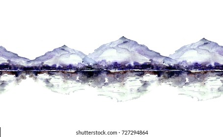 Seamless watercolor linear pattern, border. blue,purple, lilac mountain landscape, a river, a forest and a reflection in the water, silhouette of trees. On white isolated background. Vintage drawing.