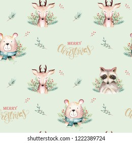 Seamless Watercolor Merry Christmas pattern with forest animals: deer, raccoon, bear with tree illustration. New year winter holiday texture