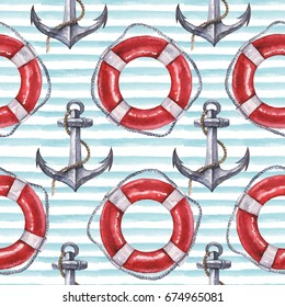 Seamless Watercolor Nautical Pattern With Anchor And Life Buoy On Blue Background Perfect For Wrappers