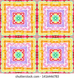 Seamless Watercolor Navajo Pattern. Geometric Native Wallpaper. Yellow, Blue and Black Ethnic Ornament. Native Oriental Kaftan Design. Watercolor American Native Navajo Pattern.