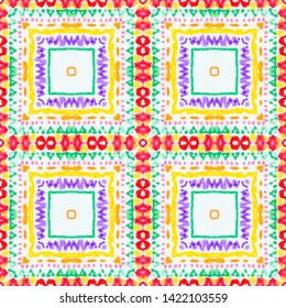 Seamless Watercolor Navajo Pattern. Geometric Peruvian Illustration. Ethnic Ornament. Aquarelle Tie Dye Kaftan Design. Watercolor American Native Navajo Pattern.