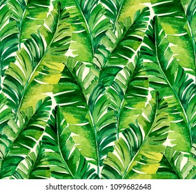 seamless watercolor palm pattern with vertical direction and very beautiful banana leaves.