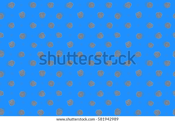 Seamless watercolor pattern of abstract raster neutral and blue rose flowers.