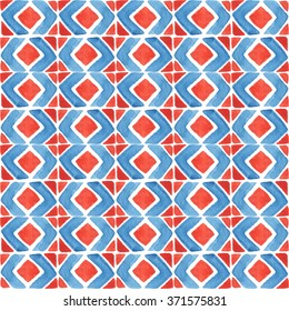Seamless watercolor pattern. African geometric elements. Folk hand painted background. Red and blue