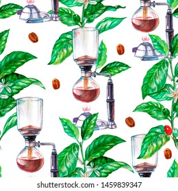 Seamless watercolor pattern with arabica branch, coffee beans and coffee maker. Painted pattern for coffee menu or wall.