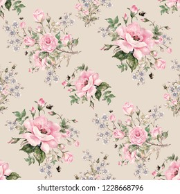 Seamless watercolor pattern beautiful bouquets. Floral pattern of roses, wildflowers and bumblebees. Pattern for fabric and wallpaper, for design and decoration.