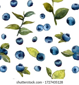 seamless watercolor pattern with berries and leaves on a white background