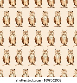 Seamless watercolor pattern with brown owls. Kids cute illustration for textile, decor, souvenirs